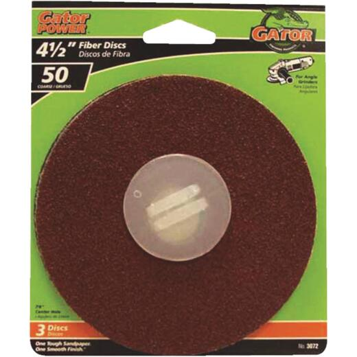 Gator 4-1/2 In. 50 Grit Fiber Disc (3-Pack)
