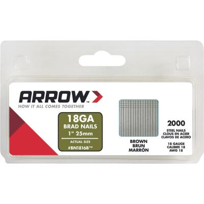 Arrow 18-Gauge Brown Steel Brad Nail, 1 In. (2000-Pack)