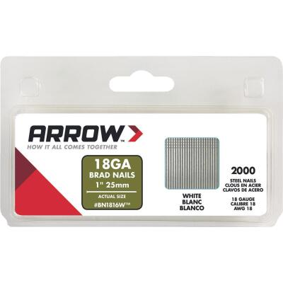Arrow 18-Gauge White Steel Brad Nail, 1 In. (2000-Pack)