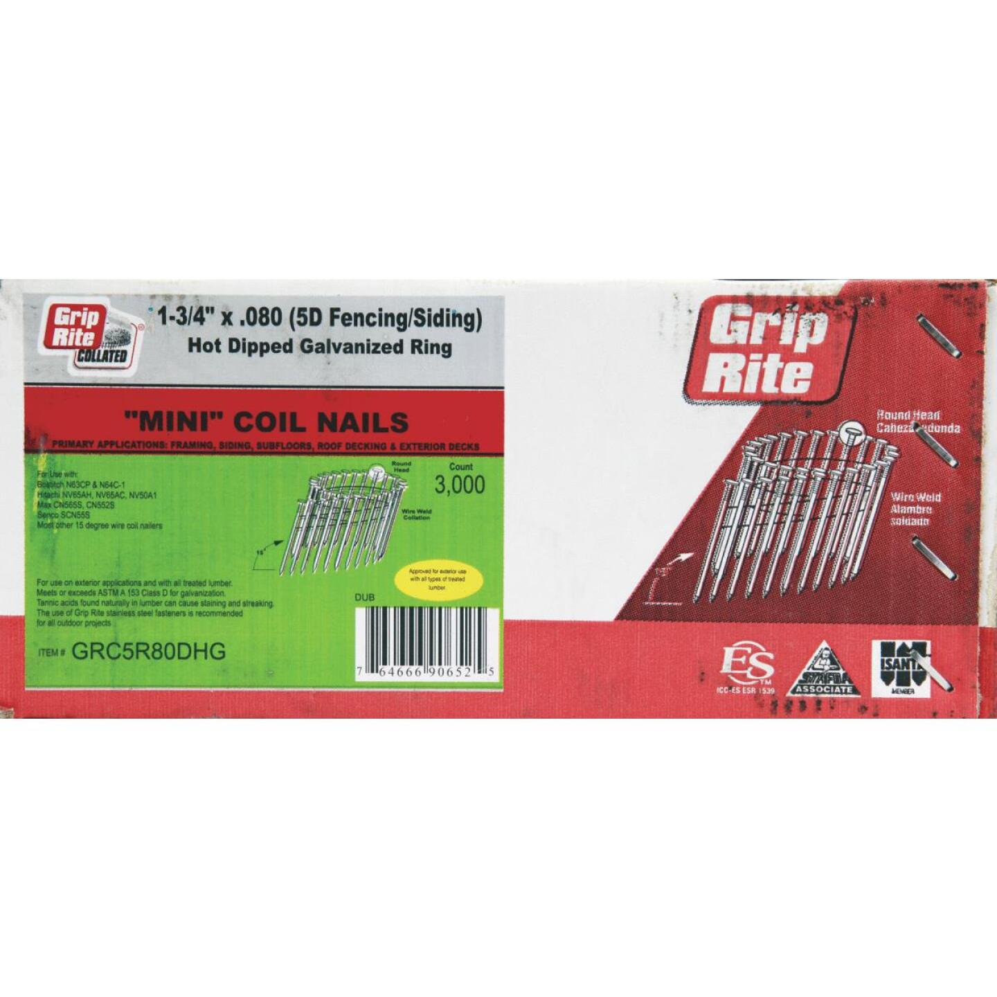 Grip-Rite 15 Degree Wire Weld Hot-Dipped Galvanized Coil Siding Nail, 1-3/4 In. x .080 In. (3000 Ct.) Image 1
