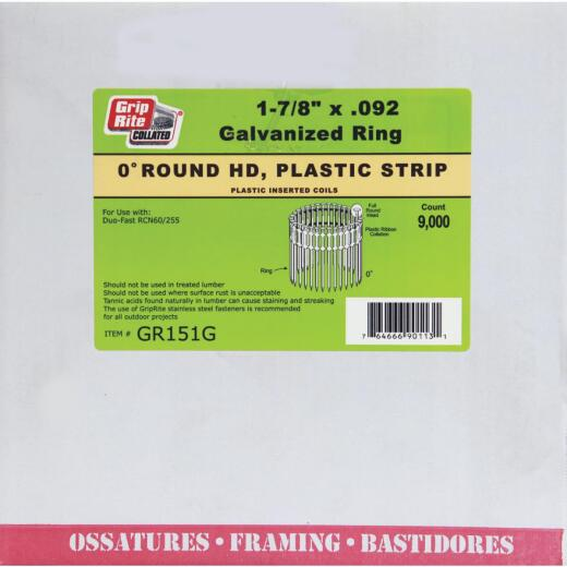 Grip-Rite 0 Degree Plastic Strip Galvanized Coil Siding Nail, 1-7/8 In. x .092 In. (9000 Ct.)