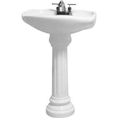 Cato Oxford White Ceramic Pedestal Sink with 4 In. Centers