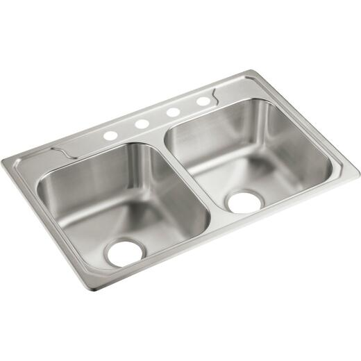 """7"""" SS DOUBLE BOWL SINK"""
