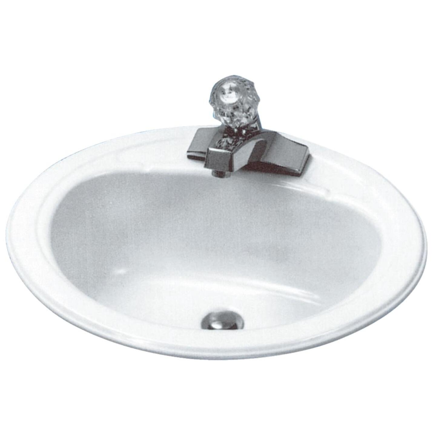 Briggs Anderson Oval Drop-In Bathroom Sink, White Image 1
