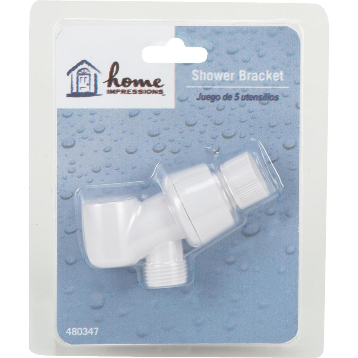 Home Impressions White Plastic Shower Bracket Image 2