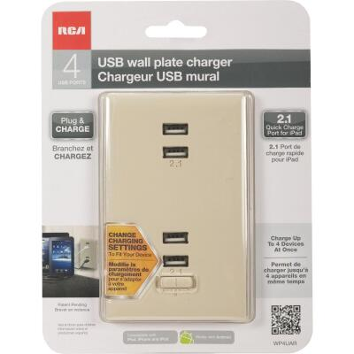 RCA 4-USB Almond Wall Plate Charger