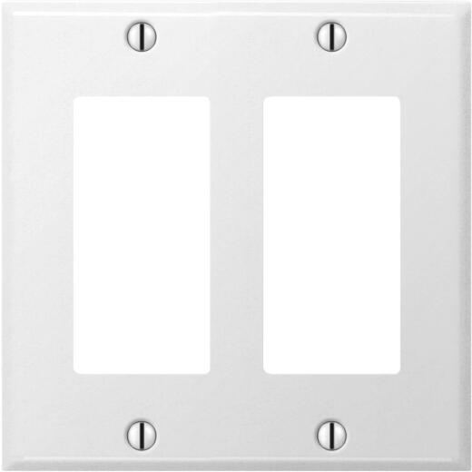 Amerelle PRO 2-Gang Stamped Steel Rocker Decorator Wall Plate, Smooth White