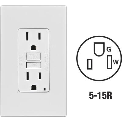 Leviton SmartlockPro Self-Test 15A White Residential Grade 5-15R GFCI Outlet with Screwless Wall Pla