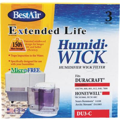 BestAir Extended Life Humidi-Wick DU3 Humidifier Wick Filter (3-Pack)