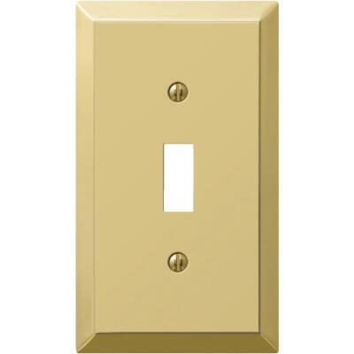 Amerelle 1-Gang Stamped Steel Toggle Switch Wall Plate, Polished Brass
