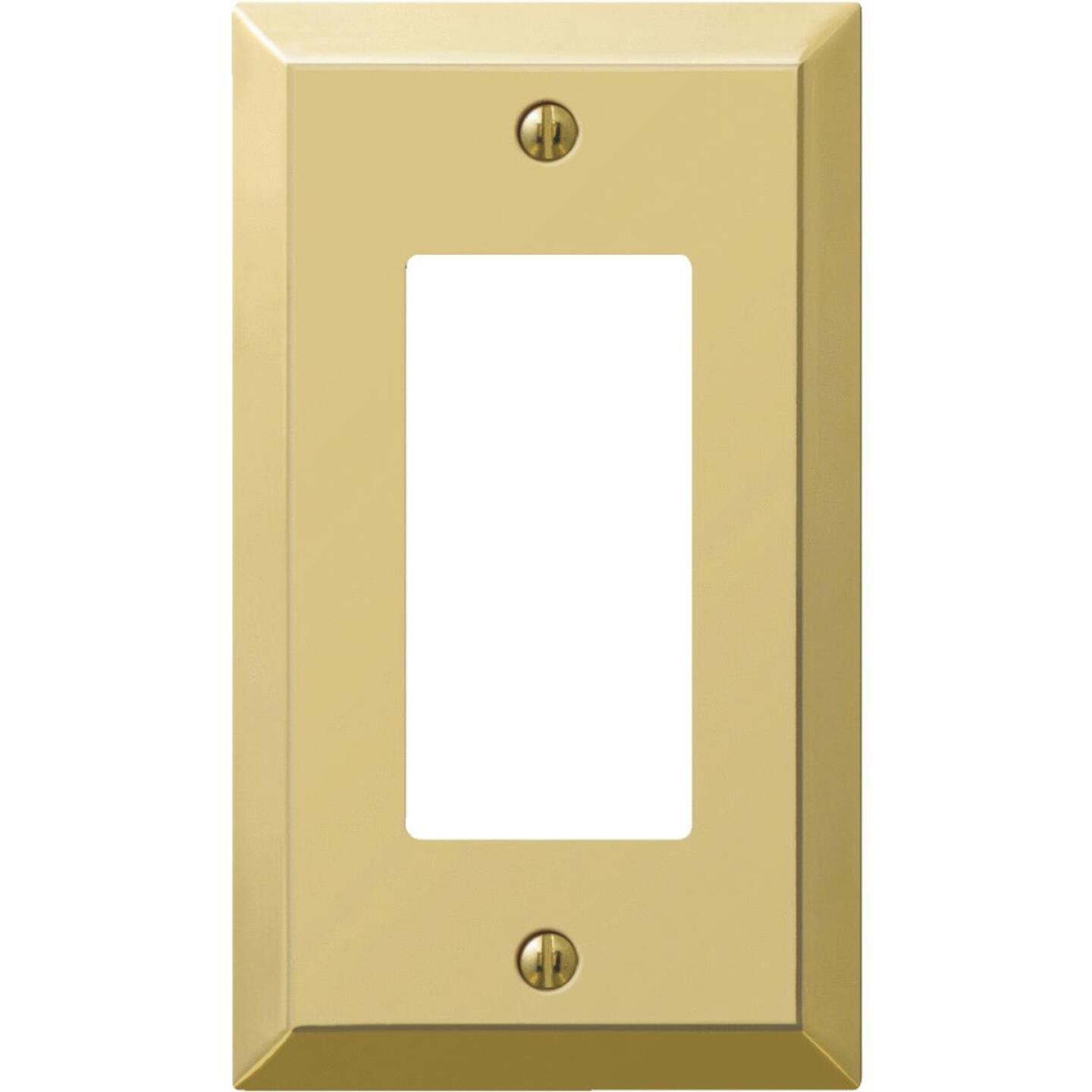 Amerelle 1-Gang Stamped Steel Rocker Decorator Wall Plate, Polished Brass Image 1