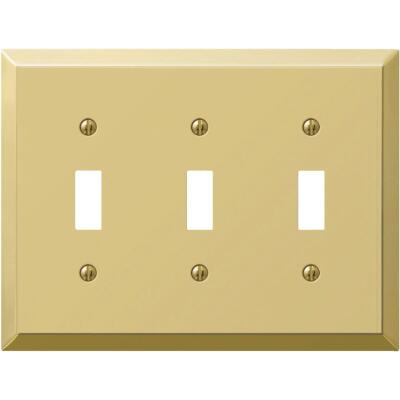 Amerelle 3-Gang Stamped Steel Toggle Switch Wall Plate, Polished Brass