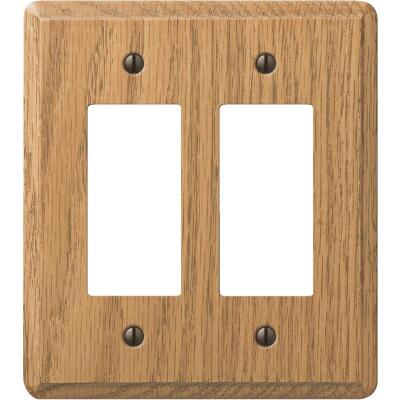 Amerelle 2-Gang Solid Oak Rocker Decorator Wall Plate, Light Oak