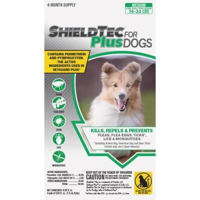 ShieldTec Plus 4-Month Supply Flea & Tick Treatment For Medium Size Dogs 16 Lb. to 33 Lb.