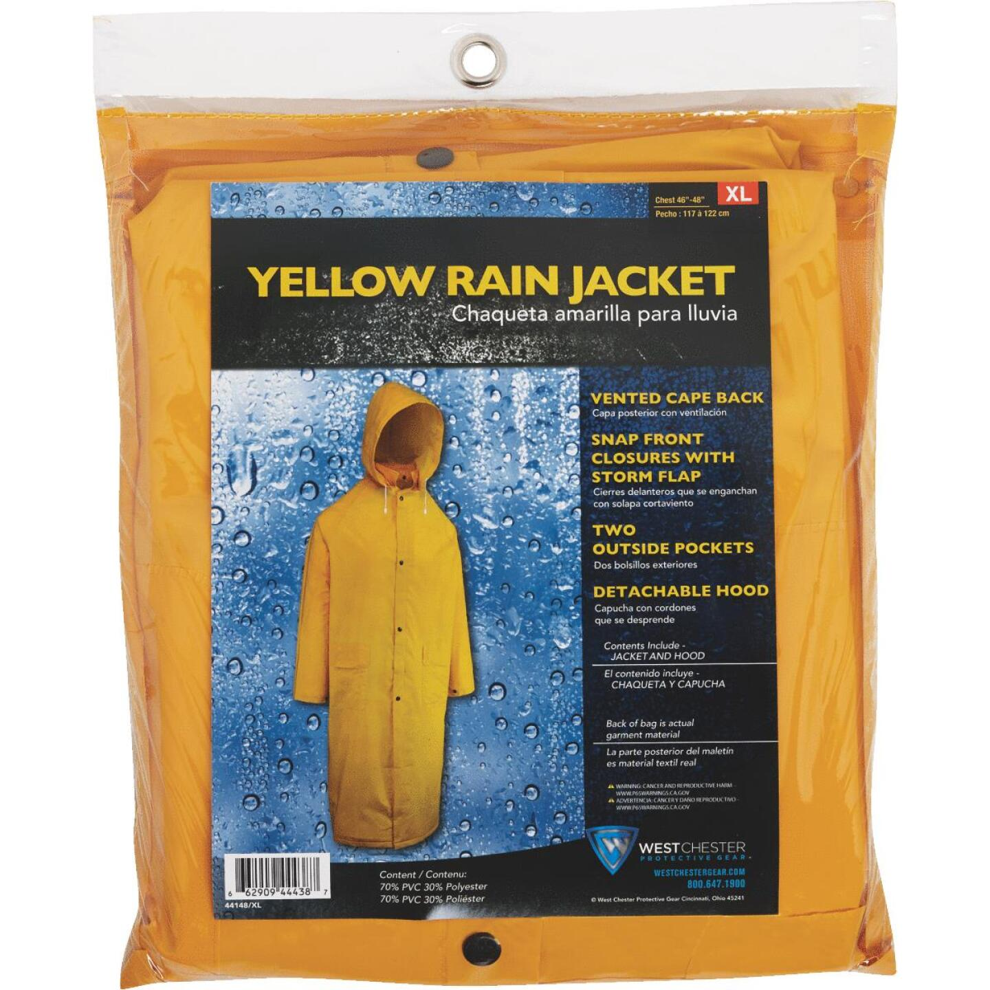 West Chester XL Safety Yellow PVC Trench Coat Image 2