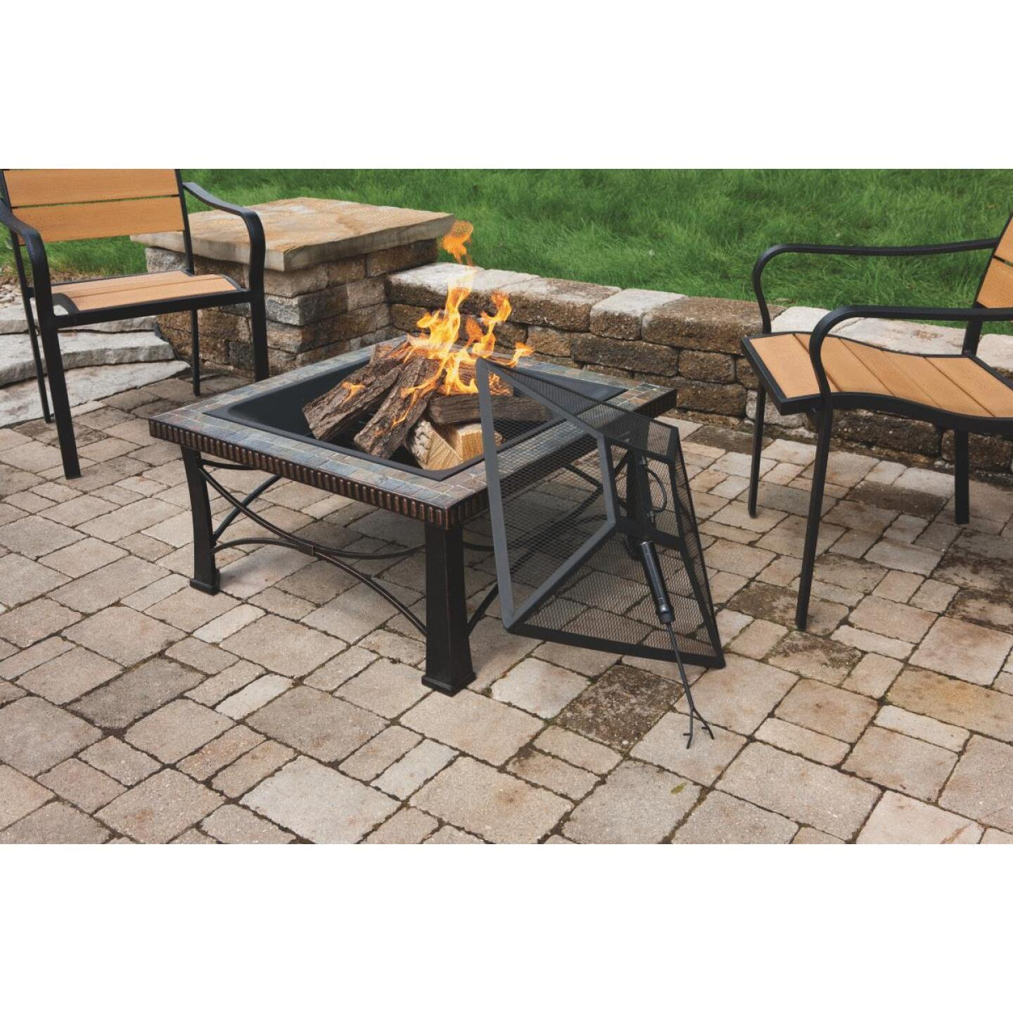 Outdoor Expressions 30 In. Slate Square Steel Fire Pit Image 3