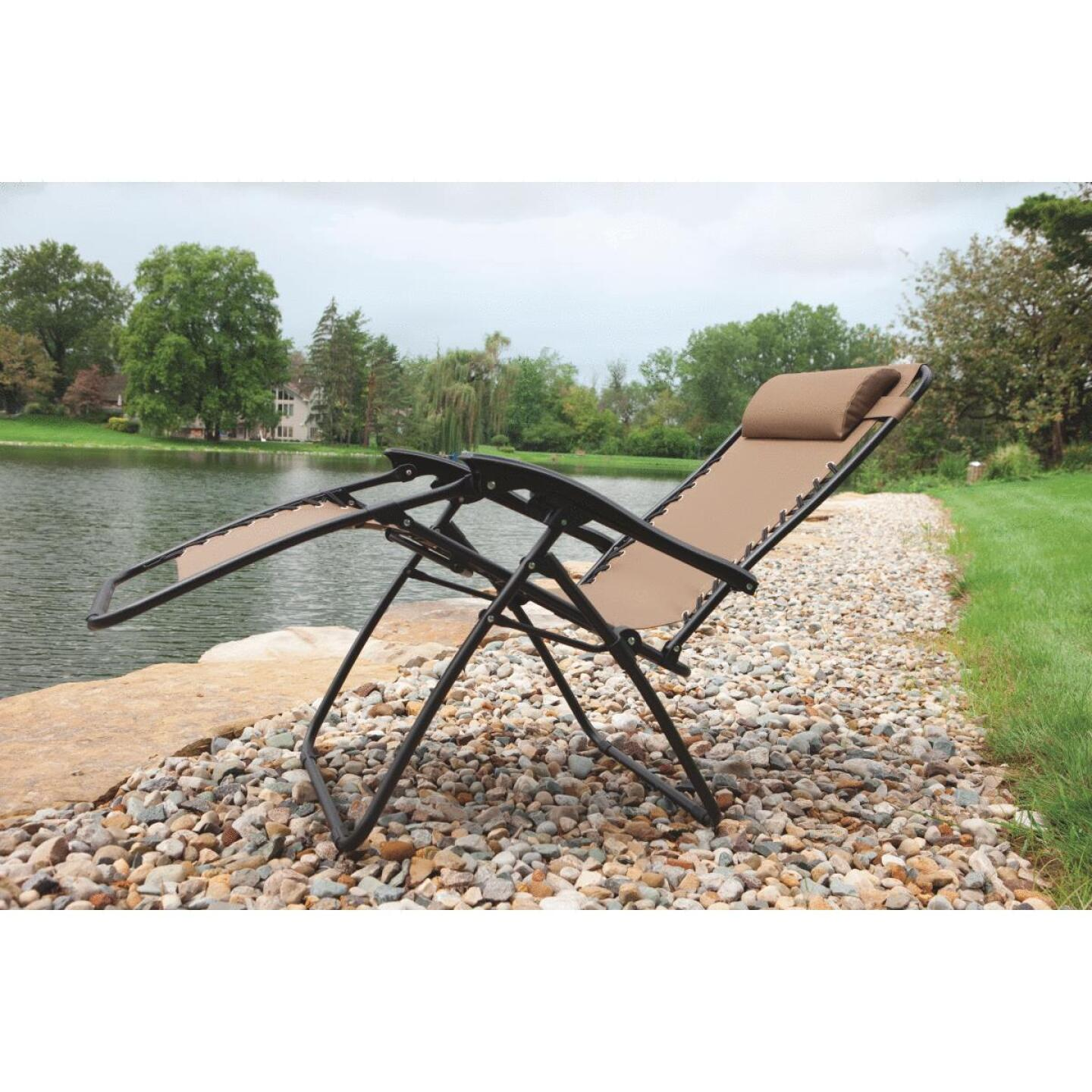 Outdoor Expressions Zero Gravity Relaxer Tan Convertible Lounge Chair Image 4