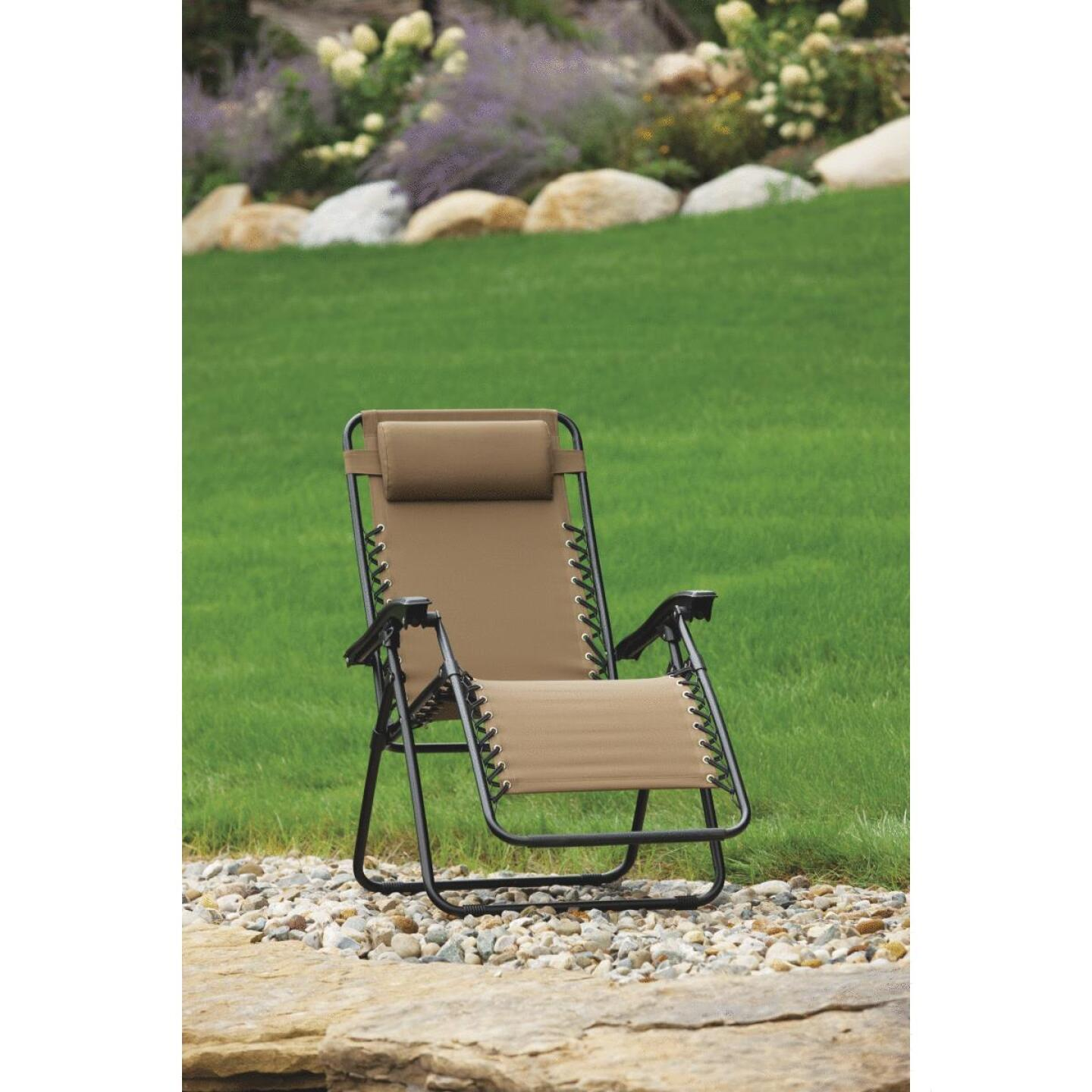 Outdoor Expressions Zero Gravity Relaxer Tan Convertible Lounge Chair Image 5